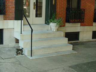 Marble steps are character-defining features