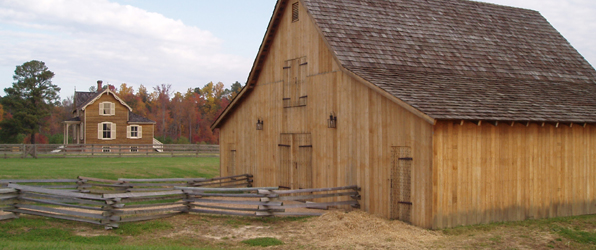 Reconstructed period barn at Pamplin Park serves as a program center for the Civil War Adventure Camp